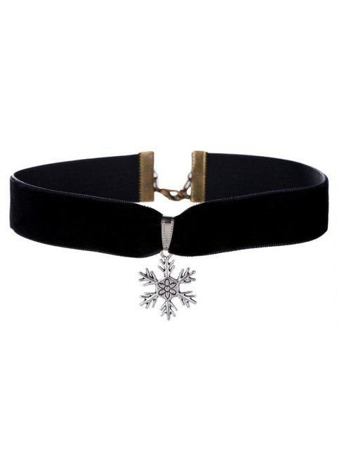lady Christmas Snowflake Velour Choker Necklace -   Mobile