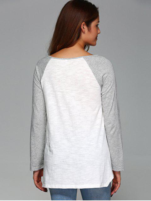 new Raglan Sleeve Asymmetrical Tee - GREY AND WHITE M Mobile