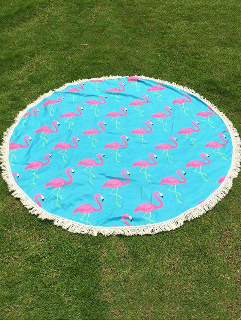 Couverture de plage frangée imprimée flamant - Bleu clair TAILLE MOYENNE Mobile