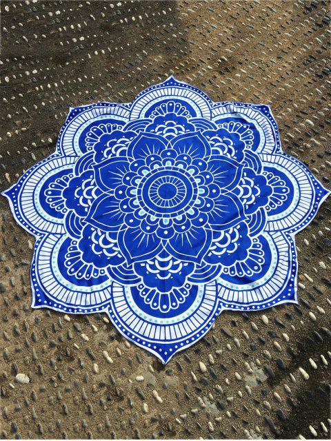 Manta de Playa Redonda de Flor Loto - Azul Única Talla Mobile