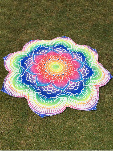 latest Bright Flower Round Beach Throw - COLORFUL ONE SIZE Mobile