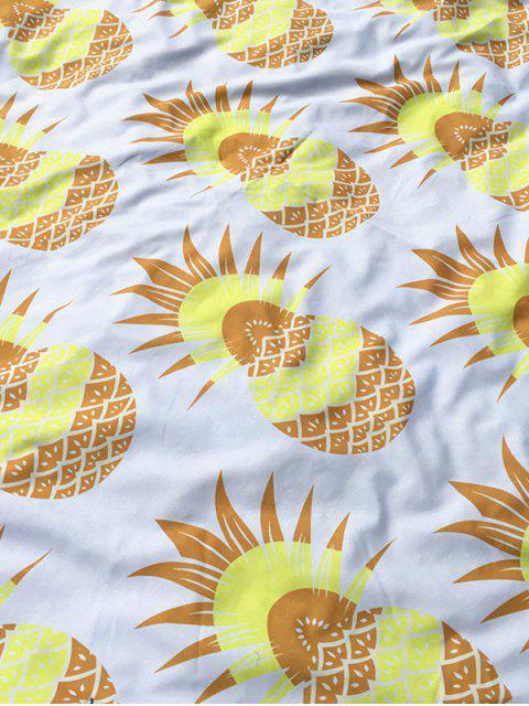 trendy Pineapple Print Tassel Round Beach Throw - WHITE  Mobile