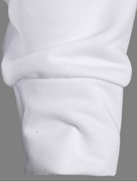 hot One-Shoulder Shell Print Sweatshirt - WHITE M Mobile