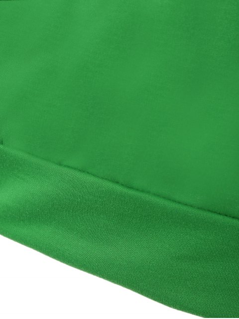 shops One-Shoulder Shell Print Sweatshirt - GREEN M Mobile