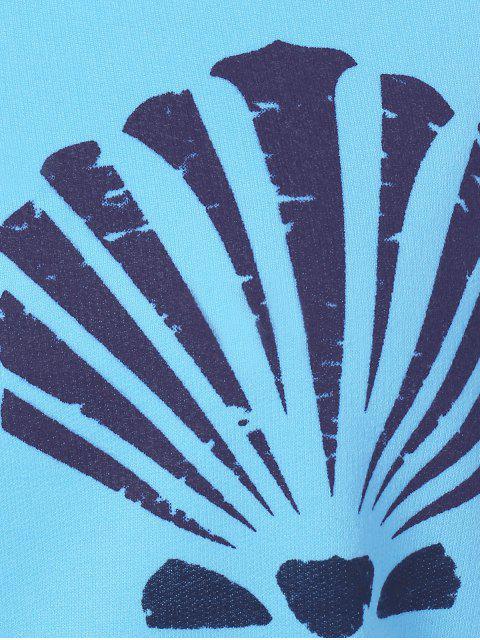 Pull sportif à une épaule imprimé de coquillage - Bleu clair M Mobile