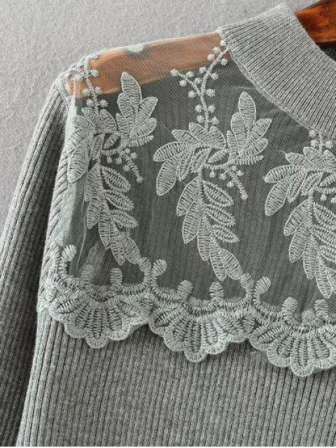 chic Loose Lace Spliced Sweater - GRAY  Mobile