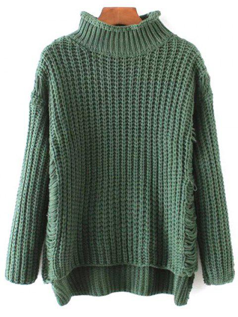 lady Turtleneck Ripped Chunky Jumper - GREEN ONE SIZE Mobile