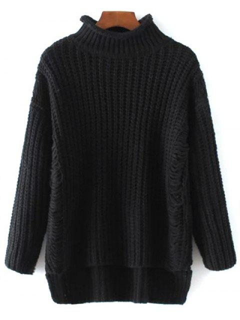 online Turtleneck Ripped Chunky Jumper - BLACK ONE SIZE Mobile