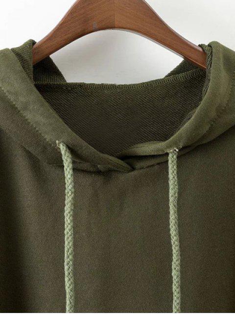 new Drop Shoulder Step Hem Slouchy Hoodie - GREEN M Mobile