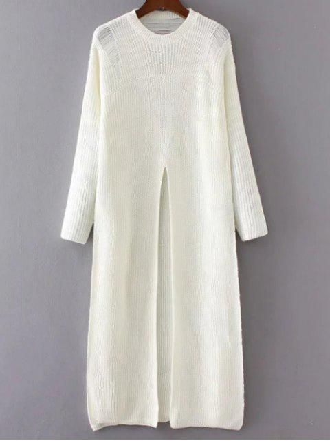 outfits Front Slit Long Sweater - WHITE ONE SIZE Mobile