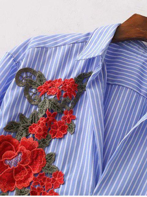 Chemise décontractée rayée à fleur - Bleu et Blanc L Mobile