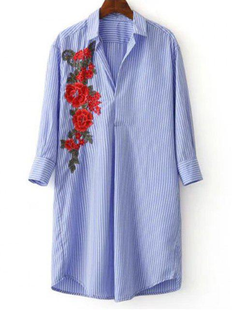 chic Three Quarter Sleeve Striped Appliqued Shirt - BLUE AND WHITE S Mobile