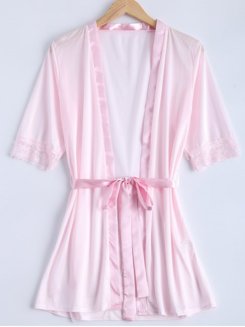 shops Belted Lace Insert Sleepwear - PINK M Mobile