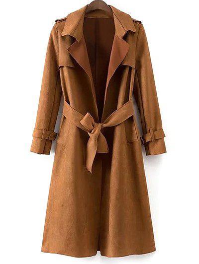 Faux Suede Long Trench Coat - Khaki M