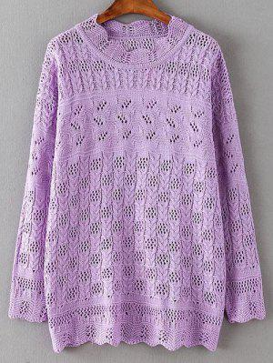 Casual Cut Out Sweater - Purple 2xl