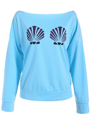 One-Shoulder Shell Print Sweatshirt - Light Blue M