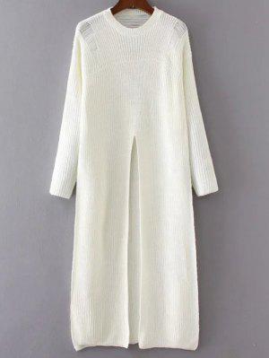Front Slit Long Sweater - White