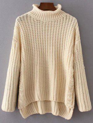 Turtleneck Ripped Chunky Jumper - Off-white