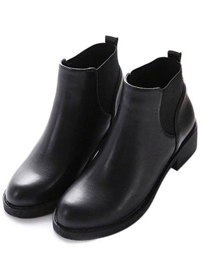 Elastic Round Toe PU Leather Ankle Boots