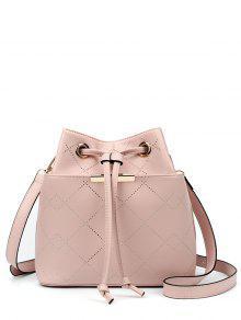 Geometric Pattern Drawstring Metal Crossbody Bag - Shallow Pink