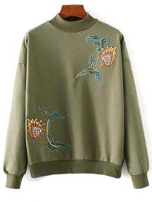 Embroidered High Collar Sweatshirt - Army Green
