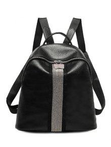 Beading Metal Textured Leather Backpack - Black