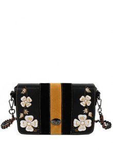 Flower Embroidery Striped Pattern Crossbody Bag - Black