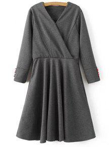 Long Sleeve Crossover Midi Dress - Gray M