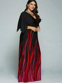 ... A Line Empire Waist Printed Plus Size Formal Maxi Dress with Batwing  Sleeves ... a910b0531