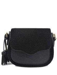 Tassels Splicing Magnetic Closure Crossbody Bag - Black