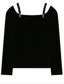 Cold Shoulder Pleuche La Camiseta - Negro