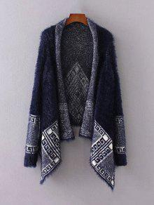 Fuzzy Printed Cape Cardigan - Purplish Blue