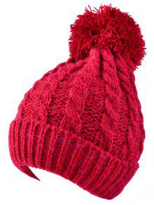 Buy Hemp Flowers Flanging Knit Hat - RED