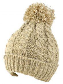 Buy Hemp Flowers Flanging Knit Hat - BEIGE