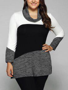 Heathered Cowl Neck Plus Size Blouse - White And Black 5xl