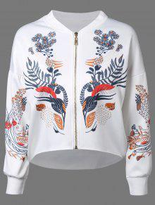 Drop Shoulder Dip Hem Jacket - White L