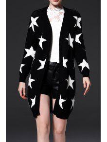 نجوم الجرافيك المفتوحة جبهة محبوك سترة - أسود