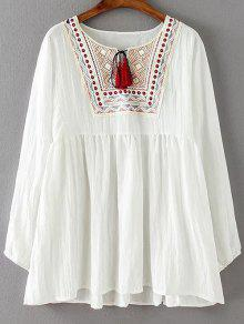 Ruched Loose Embroidered Blouse - White 2xl