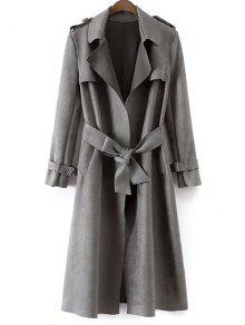 Buy Faux Suede Long Trench Coat - GRAY L