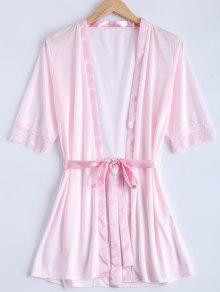Belted Empiècements En Dentelle Pyjamas - Rose PÂle S