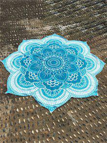 Lotus Flower Round Beach Throw - Lake Blue