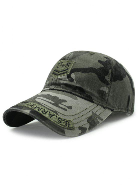 buy USA Shield Embroidery Camouflage Baseball Hat - ARMY GREEN