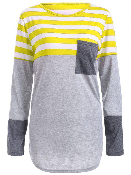 Gestreiftes Tunika T-Shirt mit Tasche - Gelb S