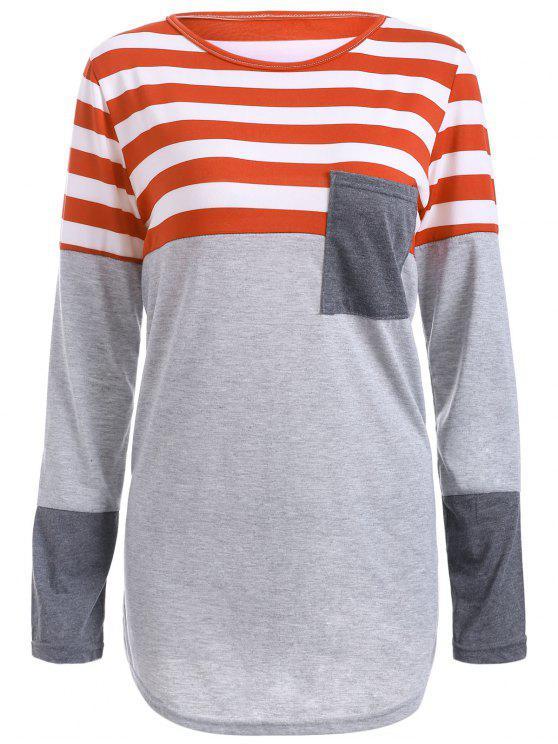 Camiseta Asimétrica Empalmado a Rayas - Rojo Anaranjado L