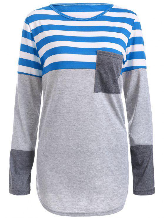 Gestreiftes Tunika T-Shirt mit Tasche - Blau S