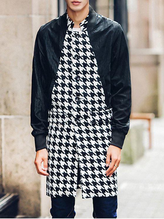Rib Cuff tasca della falda zampa di gallina Inserire Coat - Nero L
