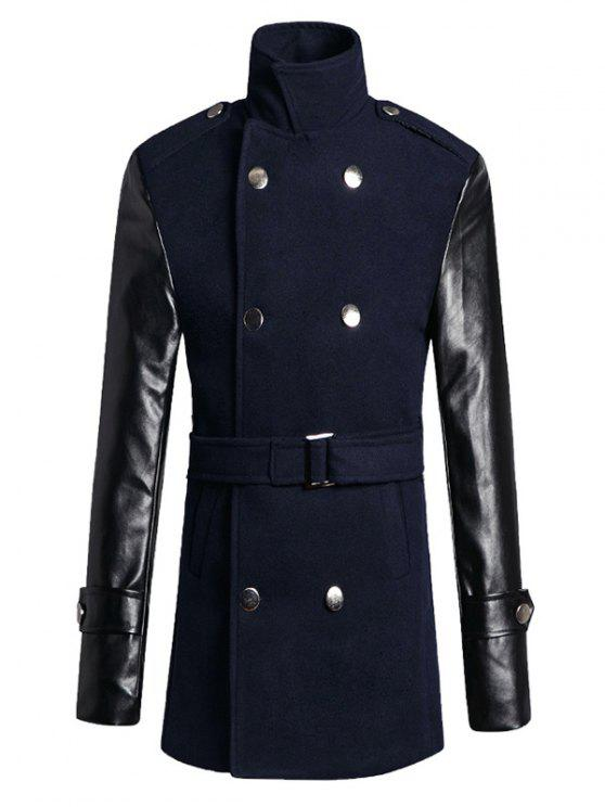ladies Stand Collar PU Spliced Wool Blend Trench Coat - CADETBLUE L
