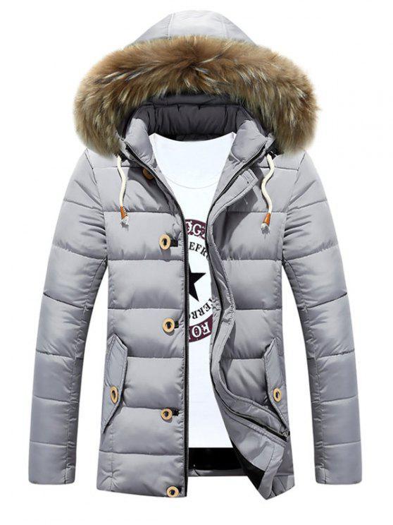 Casaco acolchoado destacável com capuz Faux Fur Collar Zip-Up - Prata M