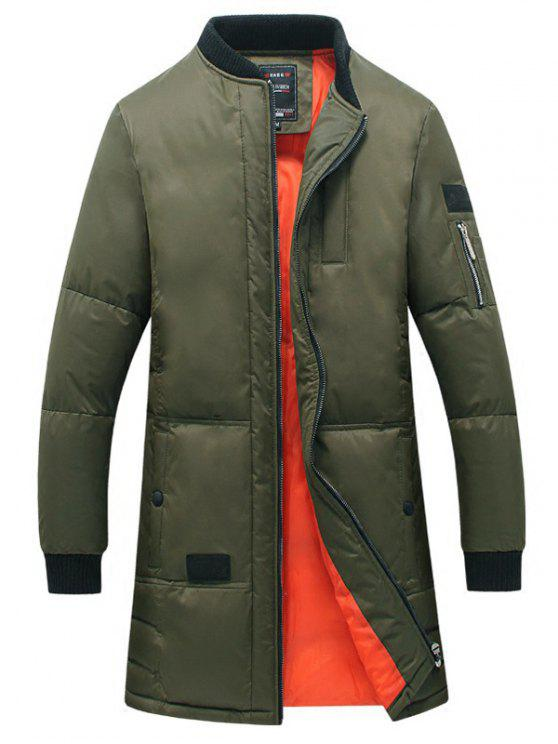 Seno Pocket Rib Cuff cerniera Quilted Coat - Verde Dell'esercito 2XL