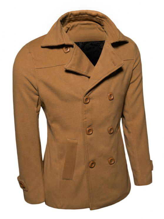 hot Turn-Down Collar Double-Breasted Wool Coat - EARTHY XL